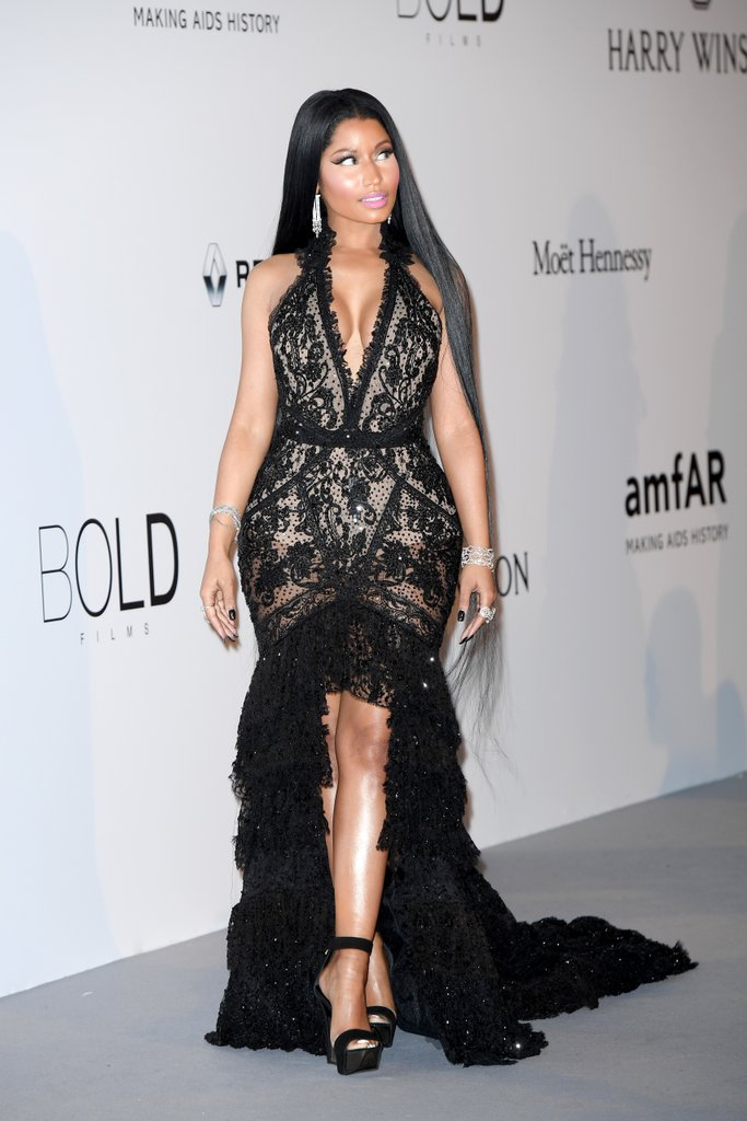Nicki Minaj in Roberto Cavalli at the amfAR Gala, Cannes 2017.