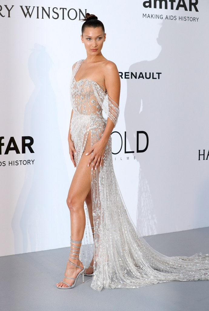 Bella Hadid in Ralph & Russo at the amfAR Gala, Cannes 2017.
