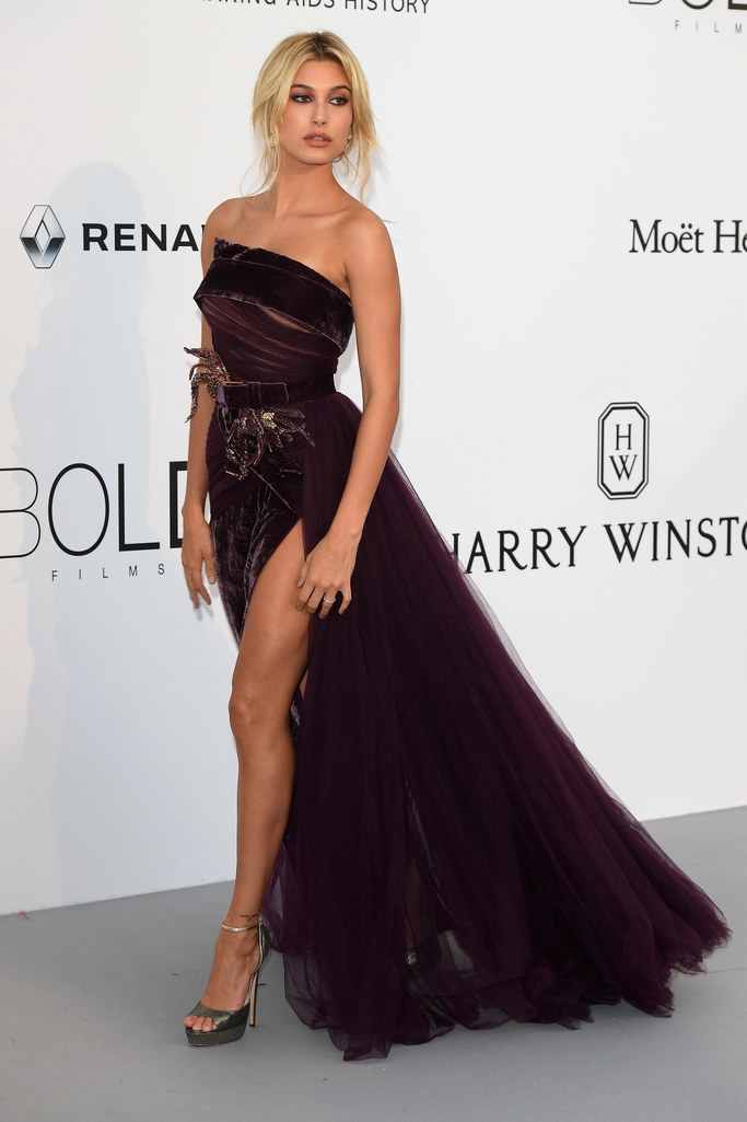 Hailey Baldwin in Elie Saab at the amfAR Gala, Cannes 2017.