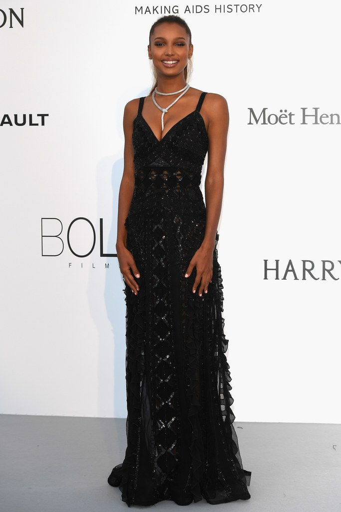 Jasmine Tookes in Zuhair Murad at the amfAR Gala, Cannes 2017.