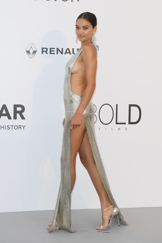 Shanina Shaik in Philip Plein at the amfAR Gala, Cannes 2017.
