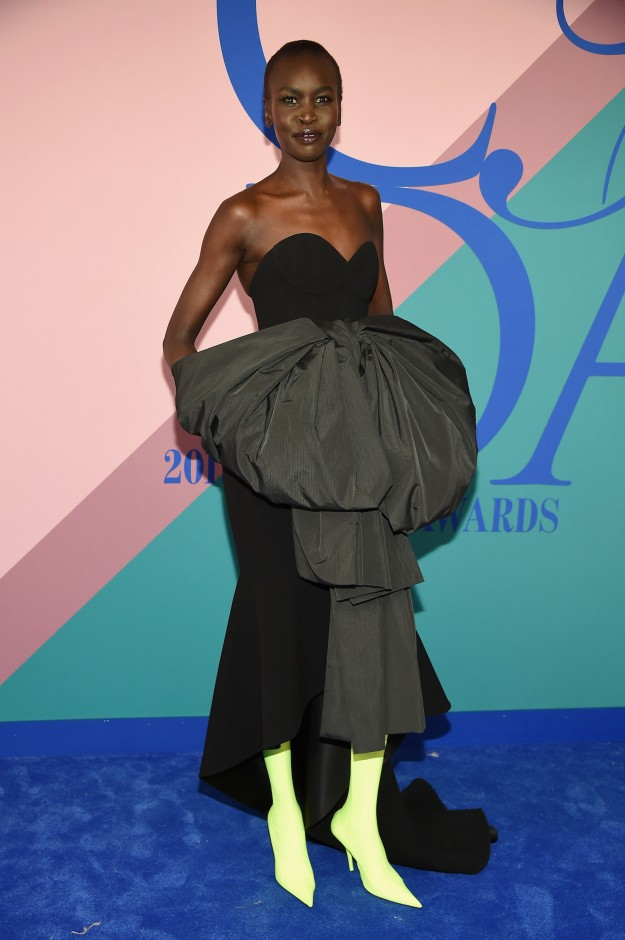 Alek Wek in Balenciaga at the CFDA Awards 2017.
