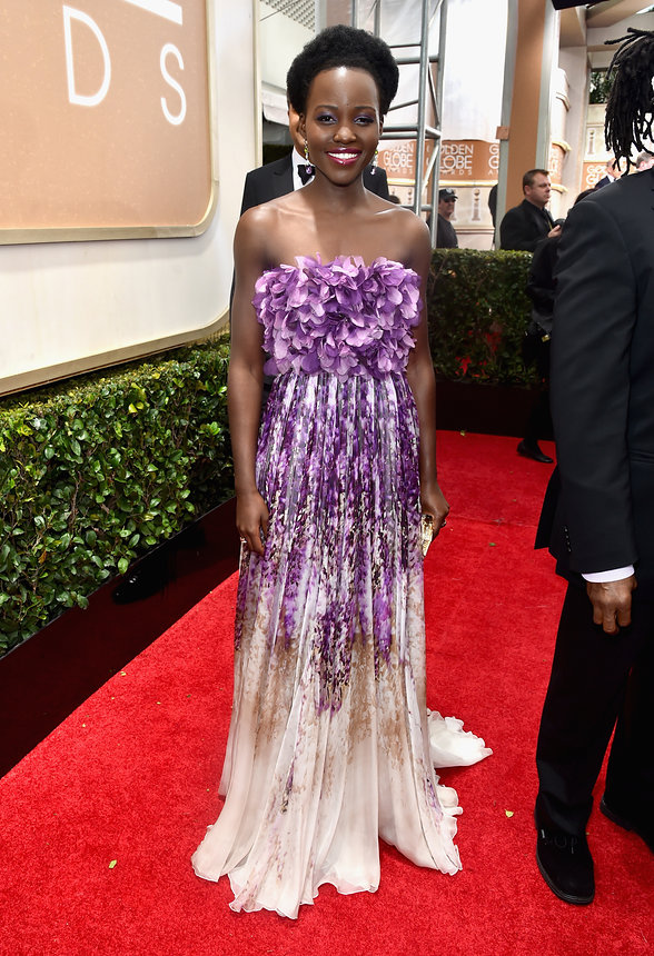 Lupita Nyongo in Giambattista Valli Haute Couture gown and Judith Leiber Bag