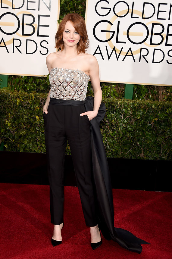Emma Stone in a Lanvin jumpsuit