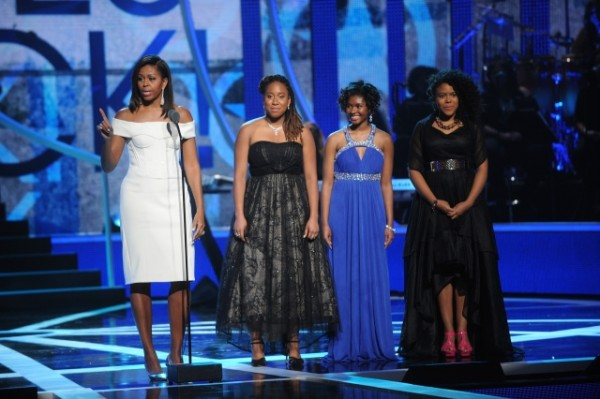 Michelle Obama with the ladies of M.A.D. Girls;